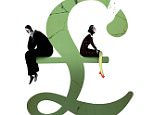 Illustration of a broken pound sign with a man and woman sitting on it  Story about redundancies and their effect on marriage  dailymail- rise and fall   must credit: BRETT RYDER