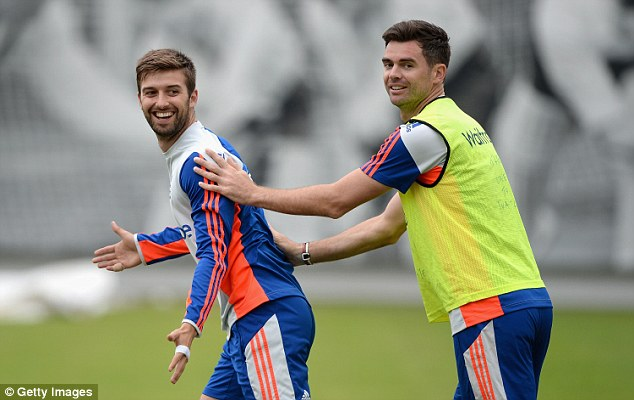 Bowling pair Mark Wood (left) and James Anderson during a nets session ahead of the second Test