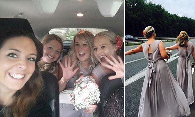 Bridesmaids forced to thumb a lift to wedding after their taxi broke down