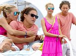 EXCLUSIVE TO INF.\nJuly 23, 2015: Heidi Klum and boyfriend Vito Schnabel go to lunch on Leonardo Di Caprio's yacht, then leave to hang out with friends on their yacht. The couple were very affectionate while laying around.\nMandatory Credit:  INFphoto.com Ref.: inffr-09/07151216