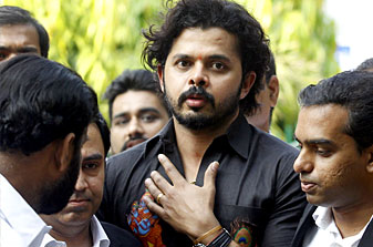 Former India cricketer S Sreesanth speaks to the press