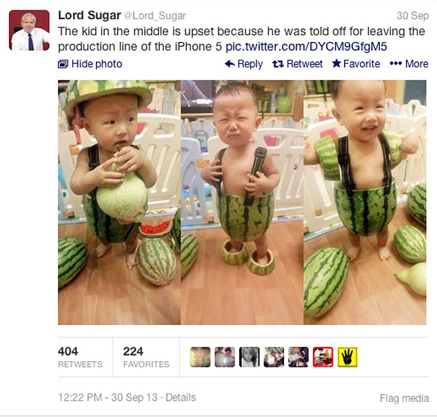 'Production line': Nichola Szeto took offence at Lord Sugar posting the tweet below