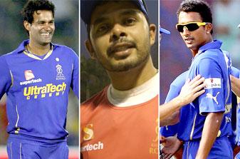 Rajasthan Royals players from (L to R): Ajit Chandila, S Sreesanth and Ankeet Chavan.