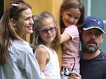 "*EXCLUSIVE* Atlanta, GA -  Jennifer Garner and estranged husband, Ben Affleck, seems to have co-parenting down pat as they pose for a family photo in Atlanta.   The pretty brunette is currently in Atlanta filming ""Miracles in Heaven"", while Ben Affleck makes an effort to spend time with his family. The high-profile couple, who have recently announced their plans to separate after ten years of marriage, have agreed to co-parent amicably for the sake of their three children, Violet, Seraphina, and Samuel.\n  \nAKM-GSI      July 25, 2015\nTo License These Photos, Please Contact :\nSteve Ginsburg\n(310) 505-8447\n(323) 423-9397\nsteve@akmgsi.com\nsales@akmgsi.com\nor\nMaria Buda\n(917) 242-1505\nmbuda@akmgsi.com\nginsburgspalyinc@gmail.com"