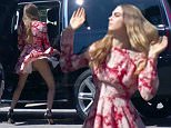 ***ONLINE USAGE £100 PER PIC***PRINT USAGE £200 PER PIC***MUST CREDIT SUNDAY MIRROR***\nSuper Model Cara Delevingne struts her stuff during an impromptu dance session in a Santa Monica car park.\n26th July 2015\n