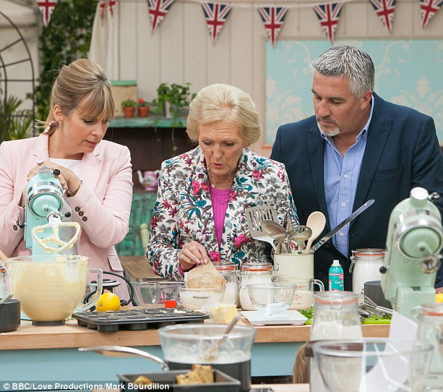 In the mix: Mary Berry, Paul Hollywood and Mel Giedroyc in the jauntily decorated Bake Off tent