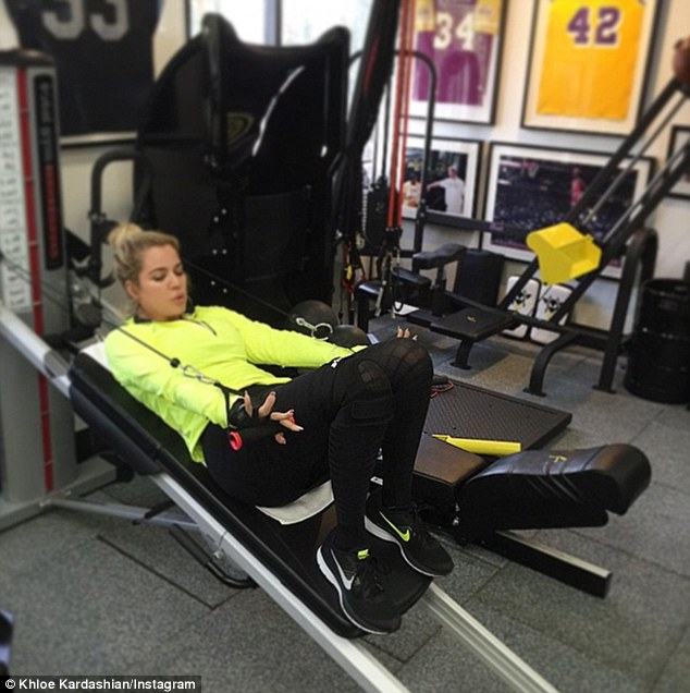 The gym is her second home: Khloe is clearly proud of her exercise regimen as she constantly posts photos and video from her workouts