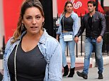 Busty model Kelly Brook wearing double denim, grey cropped top and black ankle boots out with her French beau Jeremy Parisis in London, UK. 27/07/2015..BYLINE MUST READ : JAMESY/GOTCHA IMAGES....Copyright by © Gotcha Images Ltd. All rights reserved...Usage of this image is conditional upon the acceptance ..of Gotcha Images Ltd, terms and conditions available at..www.gotchaimages.com