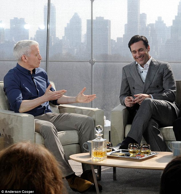 Hangin' with Mr Cooper: Jon Hamm could not resist chuckling as her remembered his days as a set dresser on Anderson