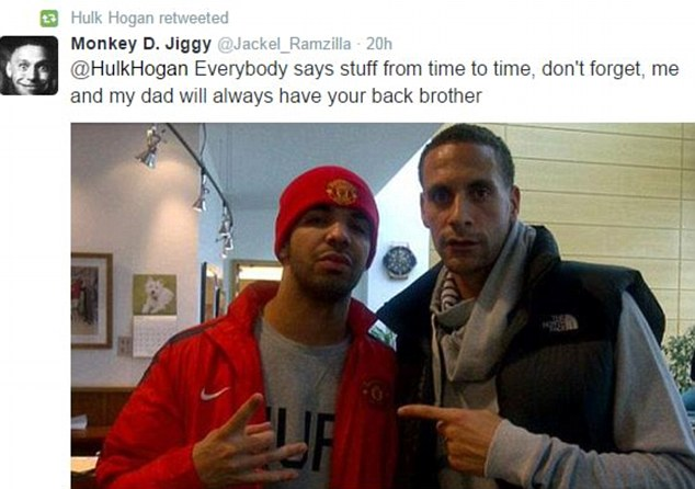 He then unknowingly also retweeted a message showing ex-England player Rio Ferdinand with rapper Drake