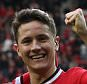 April 4th 2015 - Manchester, UK - MAN UTD V VILLA - Ander Herrera celebrates after scoring the 3rd goal.  PIcture by Ian Hodgson/Daily Mail