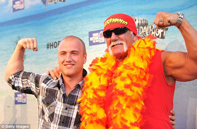 Showing off their muscles: Hogan, right, and his son Nick are pictured arrving at the Comedy Central Roast Of David Hasselhoff, which was held at Sony Pictures Studios on August 1, 2010 in Culver City, California