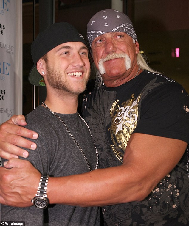 Father and son: In the latest tape, Hogan apparently tells his then-17-year-old son: 'You and me been sitting on some serious phone, phone dialogue here n***a', to which Bollea replies: 'Yeah, nibb-ah.'Above, Hogan and Bollea are seen together in Las Vegas in May 2009 -  seven months after Bollea was released from jail