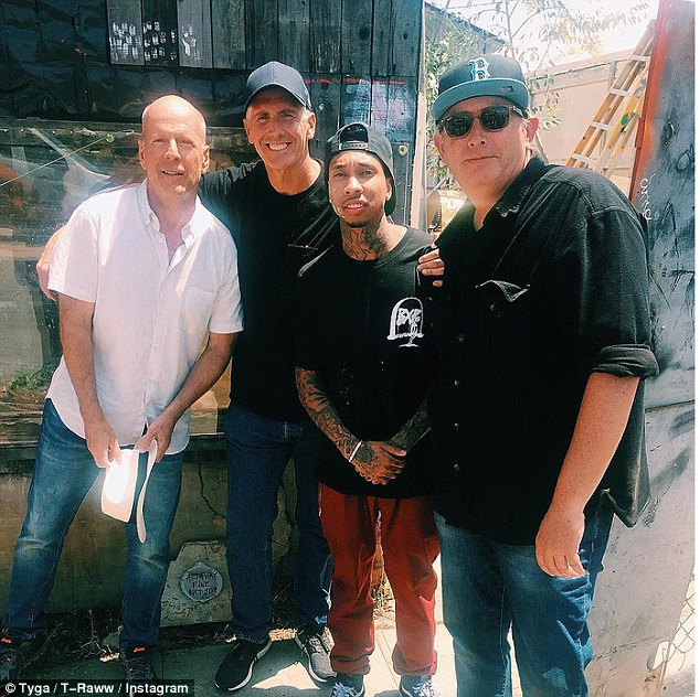 Getting on with life: Tyga was recently seen on his first day on the set of Going Under in Los Angeles, California