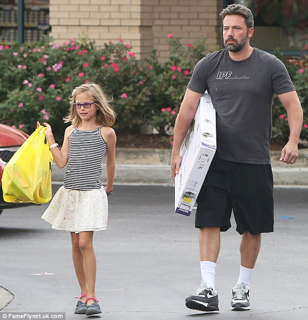 Daddy duty: Ben was spotted at a pet store with Violet on Sunday. The actor recently adopted a puppy for the family