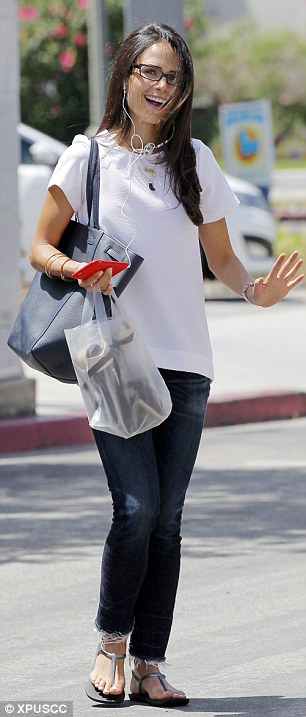 At-ease: Jordana Brewster ditched her stylish wedges for flats during a shopping trip in Brentwood, Calif. on Wednesday