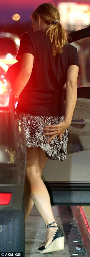 Looking lovely: The Dallas Buyers Club star wore a printed black and white skirt with a black top and espadrilles