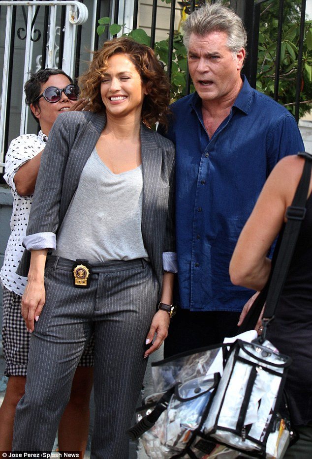 Casual cool: J-Lo's 60-year-old co-star Ray rocked a dark blue denim shirt
