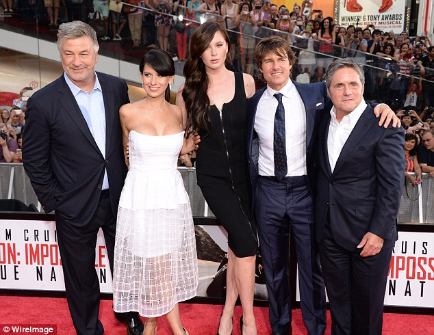 Tallest! Alec Baldwin, Hilaria Baldwin, Ireland Baldwin, Tom Cruise and the CEO of Paramount Pictures Brad Grey pose on Monday at the Rogue Nation premiere