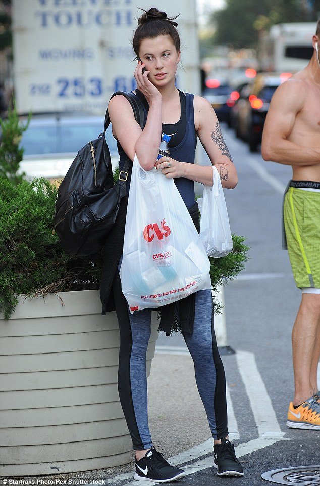 Fit: Ireland Baldwin, 19, looked fresh faced as she went shopping in New York on Wednesday
