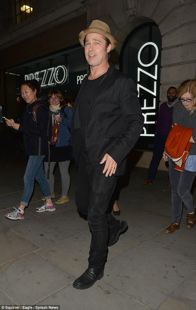 Fans in high places: Brad Pitt made his way to see Bradley Cooper in The Elephant Man in London on Wednesday
