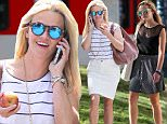 """Picture Shows: Reese Witherspoon  July 29, 2015\n \n """"Wild"""" star Reese Witherspoon is all smiles after enjoying a workout in Santa Monica, California. Reese was looking cute and casual in a striped top, white denim skirt, and white sneakers.\n \n Non Exclusive\n UK RIGHTS ONLY\n \n Pictures by : FameFlynet UK © 2015\n Tel : +44 (0)20 3551 5049\n Email : info@fameflynet.uk.com"""