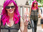 Jenny McCarthy throws a peace sign while matching pink hair and lipsticks as leaving the SiriusXM studios in New York City\n\nPictured: Jenny McCarthy\nRef: SPL1090135  290715  \nPicture by: Felipe Ramales / Splash News\n\nSplash News and Pictures\nLos Angeles: 310-821-2666\nNew York: 212-619-2666\nLondon: 870-934-2666\nphotodesk@splashnews.com\n