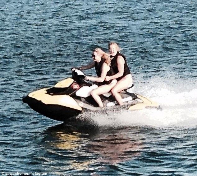 Pals: Amy is seen riding on a jet ski with Jennifer in an Instagram photo posted last Thursday