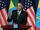 ADDIS ABABA, ETHIOPIA - JULY 27: US President Barrack Obama speaks during a joint press conference with Ethiopian Prime Minister Hailemariam Desalegn (not seen) at the National Palace in Addis Ababa, Ethiopia, on July 27, 2015. Obama urged Ethiopian leaders to embrace press freedom in the country and discussed other human rights issues, according to reports. Obamas two-day visit to the country is the first visit by a serving US President to the nation.   (Photo by Minasse Wondimu Hailu/Anadolu Agency/Getty Images)