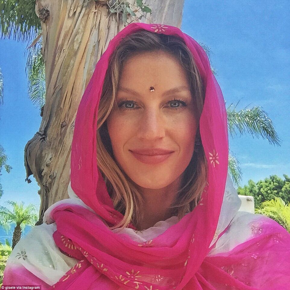 The retired supermodel pictured above wearing a colorful head scarf in a photo posted to Instagram six days before the alleged procedure