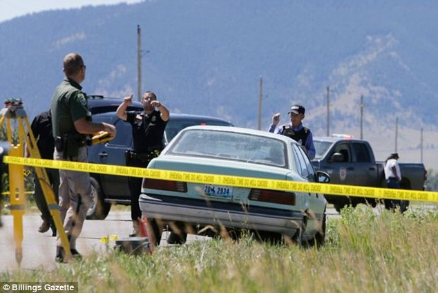 Tana Shane, 50, and her husband Jason, 52, were killed, and daughter, Jora, 24, was shot in the head and back, but managed to escape, after they assisted a broken down motorist in Pyror, Montana (scene pictured)