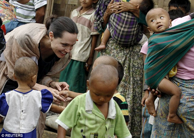 Mission:Between now and Saturday, when she leaves Burma, Mrs Jolie Pitt will also visit members of the political opposition, who have been severely oppressed over the years, and refugees
