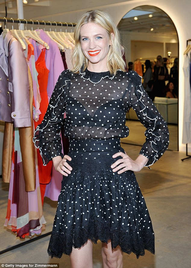 Vamping it up: January vamped up her look with some bright red lipstick as she enjoyed a fun night out