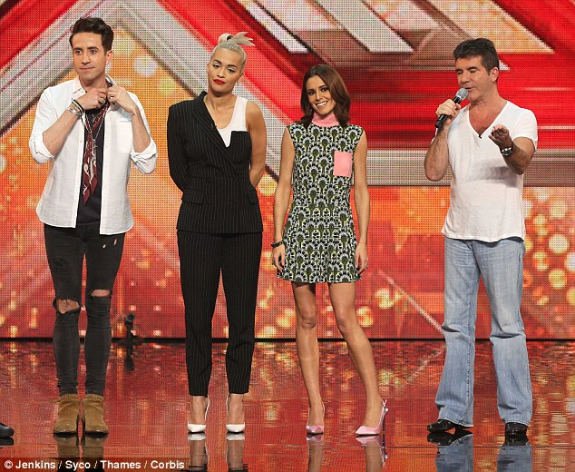 New line-up: (From left) Nick Grimshaw, Rita, Cheryl and Simon Cowell complete this year's judging panel