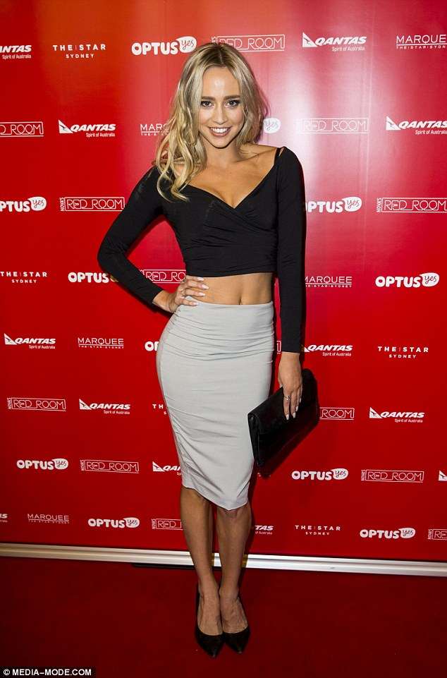 Singer and Miss Universe Australia runner up Briden Starr revealed her toned tum in a daring black crop top