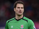 Asmir Begovic of Stoke City during the Barclays Premier League match between Stoke City and Hull City at Britannia Stadium in Stoke on Trent, England.      STOKE ON TRENT, ENGLAND - FEBRUARY 28, 2015 (Photo by Gareth Copley/Getty Images)