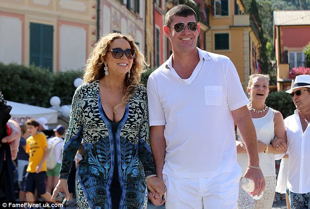 New love: Carey was spotted holding hands with Australian billionaire James Packer in Portofino, Italy last month