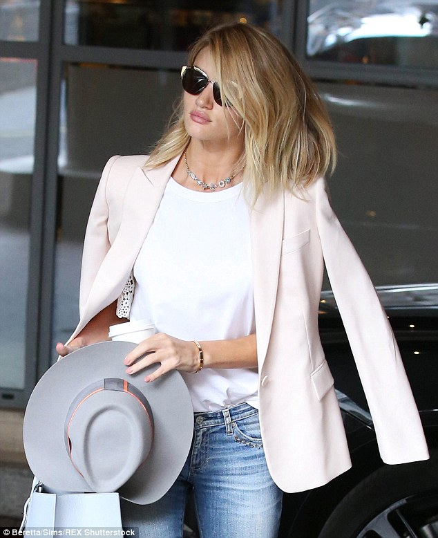 Busy bee: The M&S model and designer is currently in the UK after heading over from her home in Los Angeles for secret work purposes