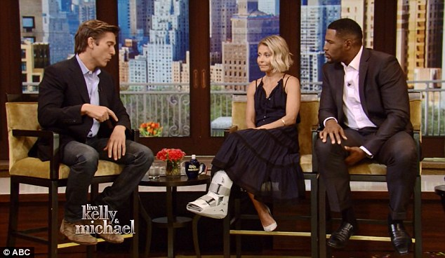 On disply: Kelly's medical boot was fully visible while interviewing World News Tonight anchor David Muir