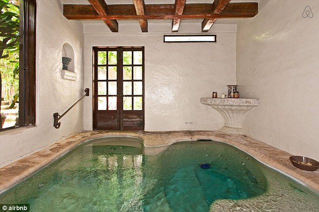 Bubbles: Carey can relax in the indoor/outdoor spa jacuzzi after a day at the beach
