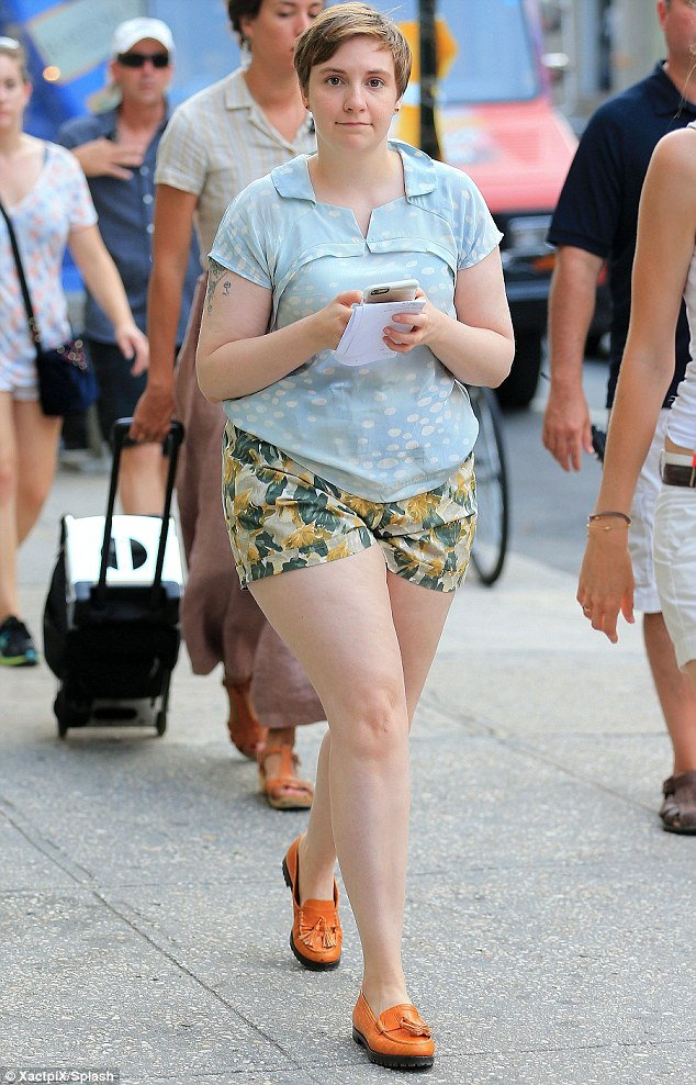Back to filming: Lena Dunham was spotted out in New York on Wednesday as she gets back to filming Girls