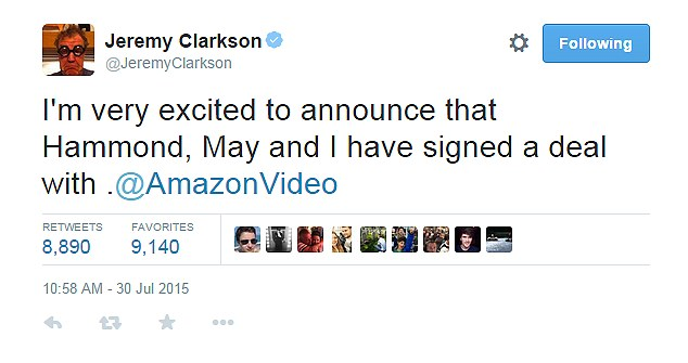Tweet: Clarkson announced the deal on Twitter today, saying he was 'very excited' about the new show