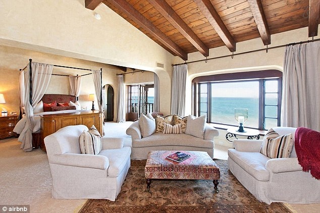 Relaxing: The master bedroom features a sitting area and office, with ocean views