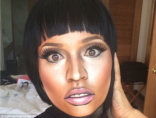 The makeup artist becomes Nicki Minaj with wide eyes, a full pout and defined nose