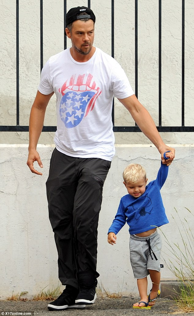 Proud dad: Josh Duhamel, 42, was spotted taking his cute son Axl, 23 months, to breakfast at the Early World Cafe in Los Angeles while wife Fergie attended to work commitments