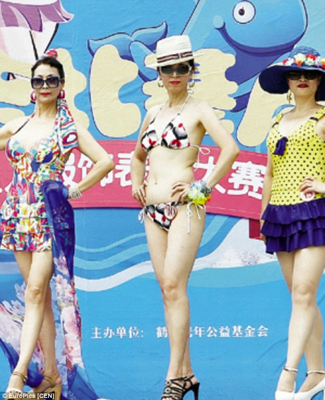 Glamour: Stylish grandmothers showed off their amazing figures in colourful bikinis and one-piece swimsuits