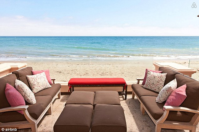 Relaxing: The outdoor entertaining area looks out over Malibu's beaches