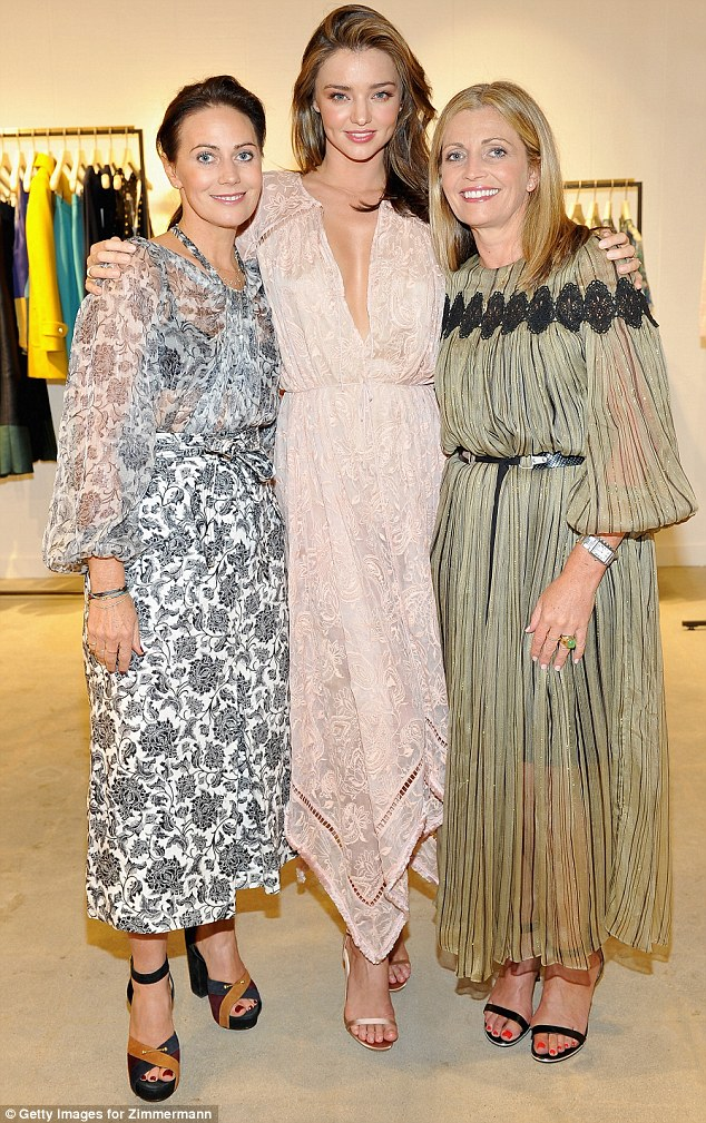 Long time friends: Miranda posed with the brains behind the brand Nicky and Simone Zimmermann