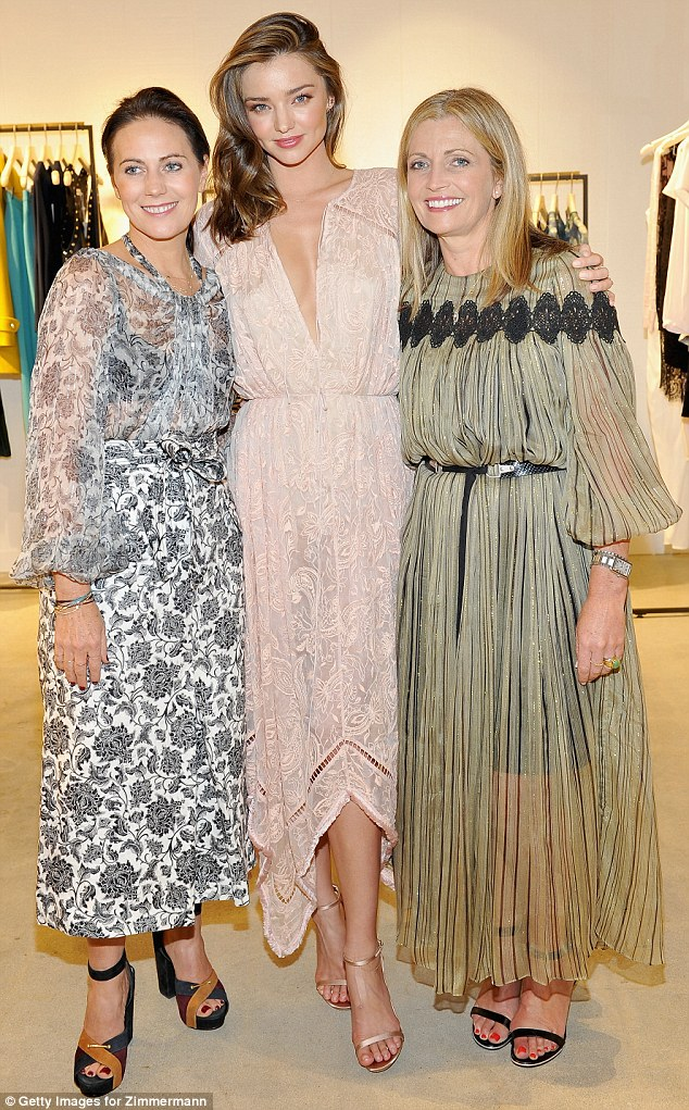 Showing off their wares: The trio all wore stunning pieces from the Australian designer's range