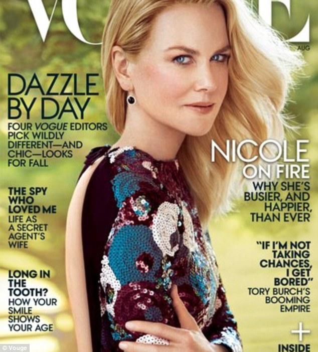Cover girl: Nicole recently featured on the cover of the August issue of Vogue US magazine wearing an ultra-glam sequinned black dress featuring a backless cutout by Marc Jacobs